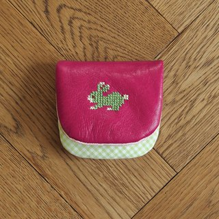 Croxxx|handmade cross stitch lambskin leather coins pouch|pink - RABBIT