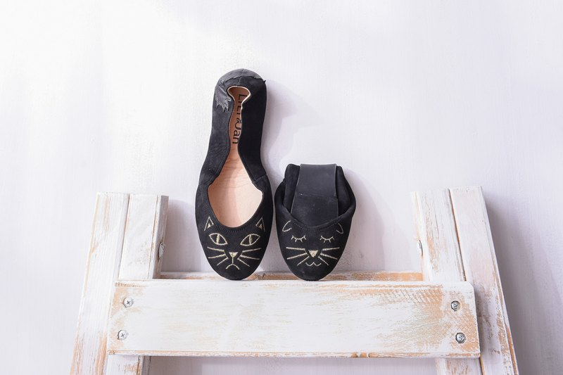 [Cat's March] Two 喵喵 ‧ folding ballet shoes _ black Romanti