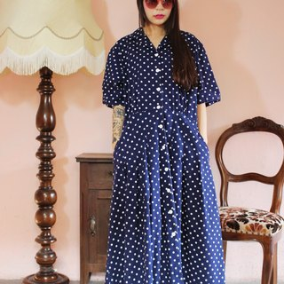 F1151 [American-made bids] (Vintage) dark blue double pocket long version of the little white cotton vintage dress (wedding / picnic / party)