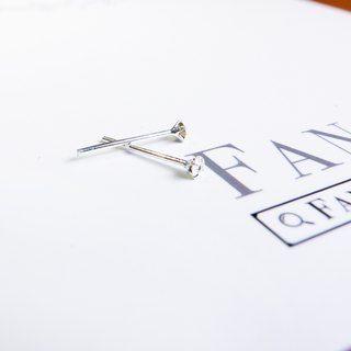 [2mm super mini handmade sterling silver diamond earrings]
