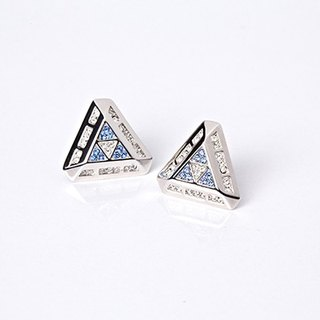 geometric geometric designs series - three-dimensional geometric patterns white & blue Swarovski Crystal Luo Siqi ear pin earrings