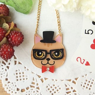 Meow - gentleman style ribbon cat necklace