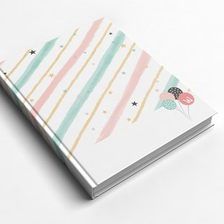 ☆ ° Rococo Strawberries WELKIN Handle Handbook / Notebook / Hand / Diary - Pink Stripes Party
