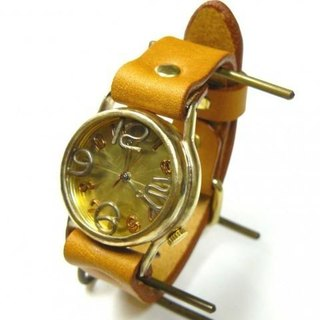 "Handmade watch HandCraftWatch ""On Time-B"" GD / Camel Mens [214B]"