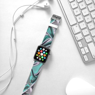 Apple Watch Series 1 , Series 2, Series 3 - Abstract Silver Pattern Watch Strap Band for Apple Watch / Apple Watch Sport - 38 mm / 42 mm avilable