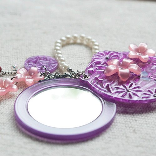 Diamond flower painting, mirror, mobile phone strap, key ring - purple