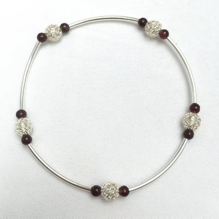 BR0328 - own design and manufacture of natural stones - garnet / 925 bracelet
