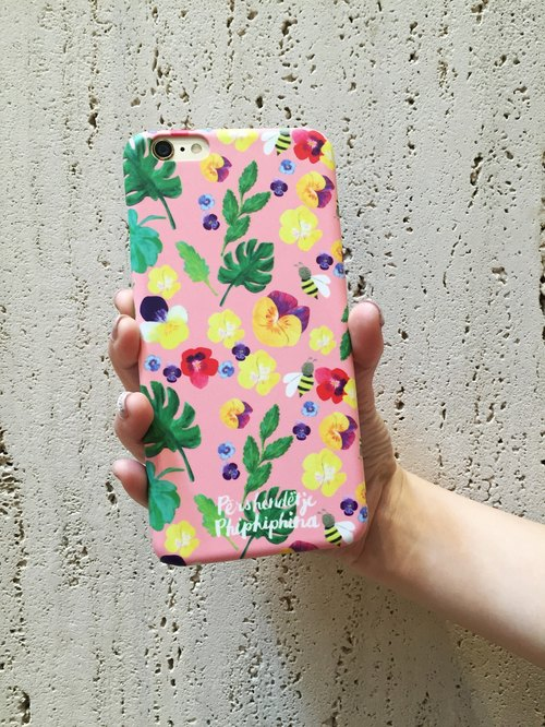 Personalization Tropical Monstera Leave Floral iPhone 7 Case, Pansy and Bee Botanical Flowers in Pink Case, Gift for Her, Gift Under 30 Personalization Tropical Monstera Leave Floral iPhone 7 Case, Pansy and Bee Botanical Flowers in Pink Case, Gift for Her
