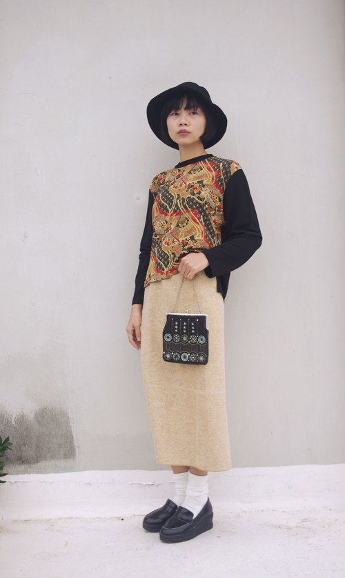 4.5studio- [R;] Restyle- Japanese ukiyo-e style of printing domineering black knit tops