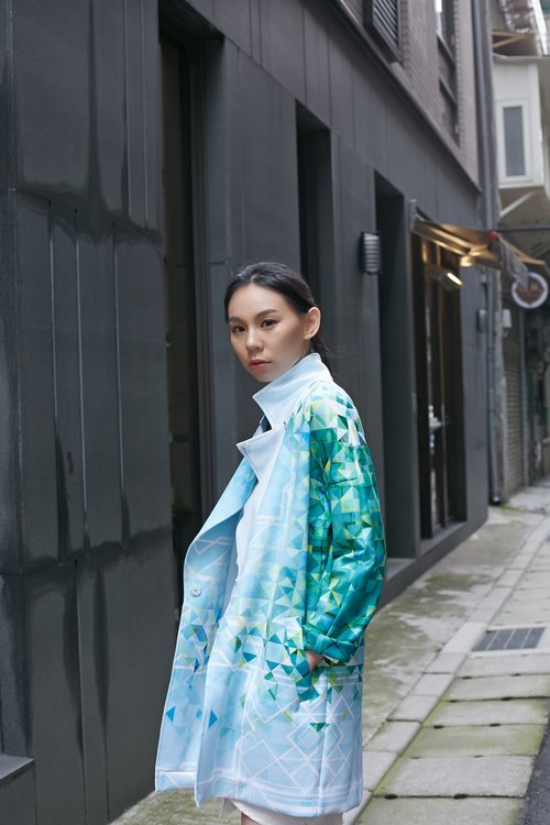 CHENG PAI CHENG green plaid printing cocoon coat