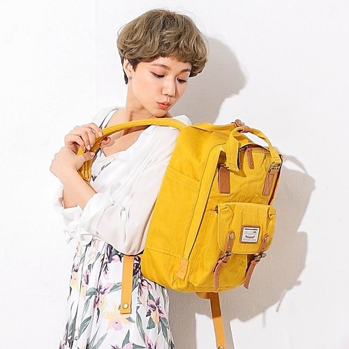 Donut Water-repellent macaroon backpack - mustard yellow