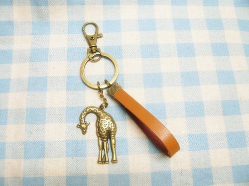 Nadia love ♥ cute giraffe hand-made leather key ring retro bronze buckle Variety