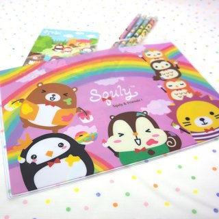 Squly & Friends B5 Zip bag (Rainbow) (D016SQS)