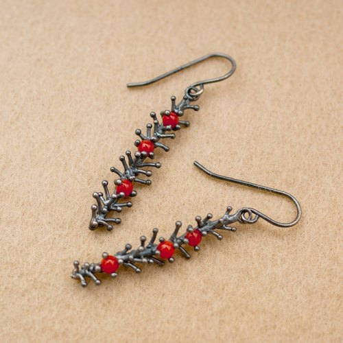 [Anthozoa] Series - 925 sterling silver red coral earrings