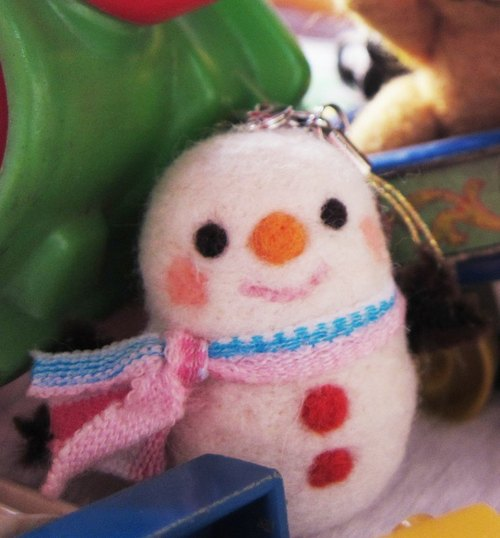 Handmade scarves Christmas Snowman can be made necklace / Bag Charm / Key Chains (alternative function)