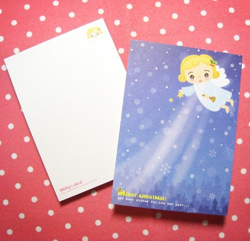 Christmas angels send blessings postcard set