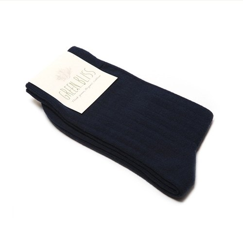 GREEN BLISS organic cotton socks - [plain embossed] Florida Blueberry Navy dark blueberry color stockings (male / female)
