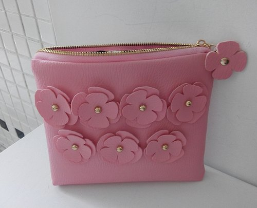 pinpincandy lovely pink flowers grain leather clutch PARTY