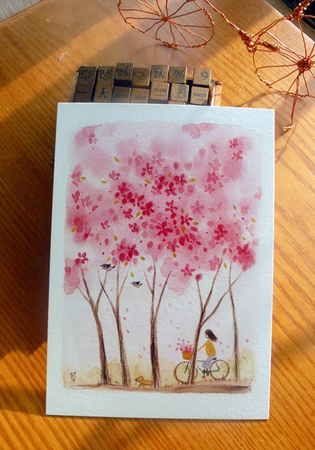 Spring tree / pink rain began postcard