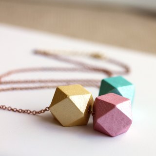 Geometric Wood Necklace - Metallic Spring Color, Boho Necklace ,Everyday Eco Friendly Necklace,gift for her,pink,yellow,blue