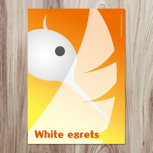 Jiang Tong ‧ wetlands endemic Series postcards - white egret