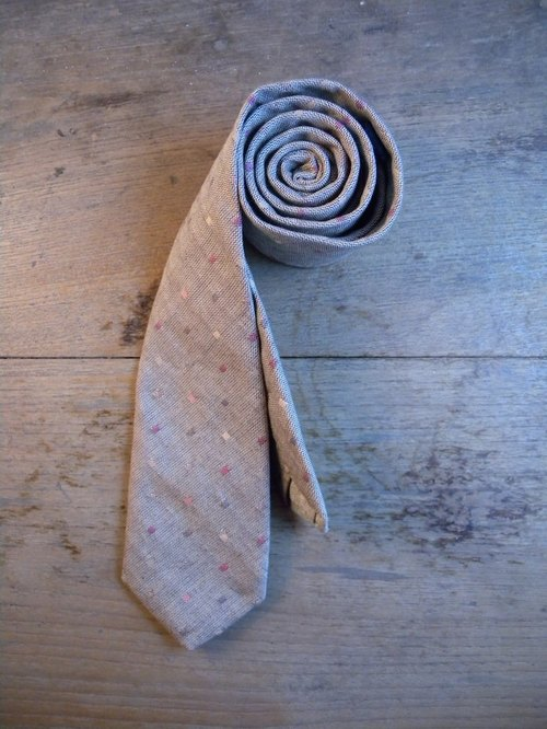 Neck Tie Grey Dot Square