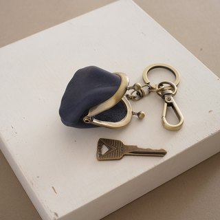 """RENÉE"" mini-mouth gold key ring, soft plant tanning carved leather ocean blue"