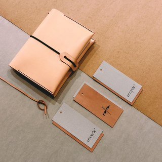 A6 hand-stitched cow leather notebook combination.