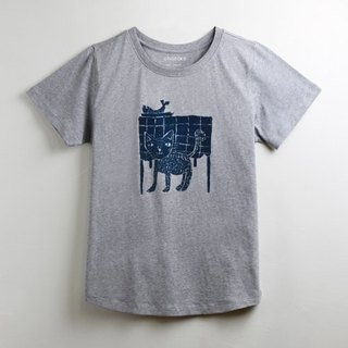 Cotton handmade textured t-shirt - childlike cat's afternoon tea