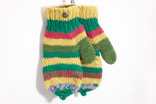 Christmas Limited a knitted pure wool warm gloves / 2ways Gloves / Toe gloves / bristles gloves - colored stripes Forest
