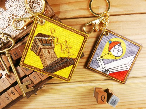Embroidery Tainan Monuments key ring - [Fort Zeelandia] key ring / yellow / embroidery / souvenir / Tainan attractions - Literary light stick