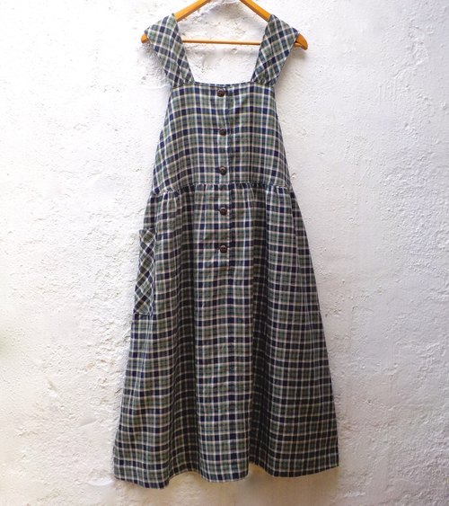 FOAK vintage blue-green plaid harness dress