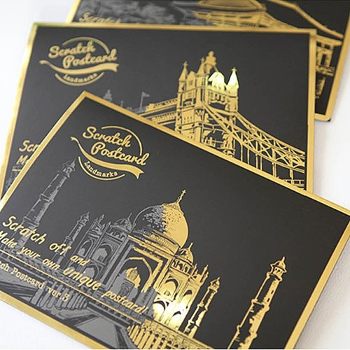 Lago-Hand Scratch City Golden Night Postcard-Ver.3 (4 stickers), LGO92930