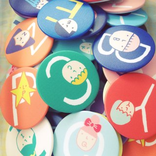 5.6cm Alphabet Pin Back Buttons / 26 Styles / A-Z
