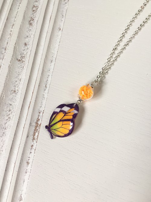 Luminous purple pattern orange swallowtail hand painted butterfly bright glass necklace