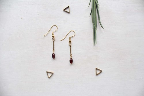 [A] little wish Emerald.3 Emerald Series - red agate earrings