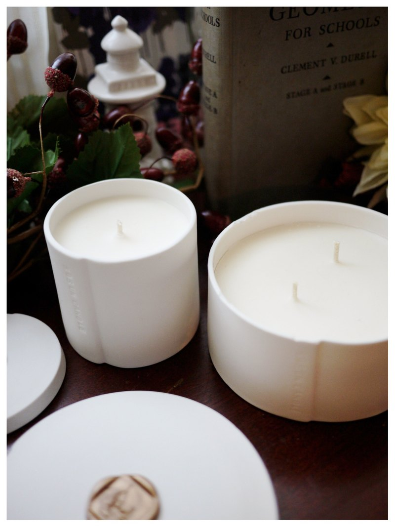 Geranium white porcelain soy candle natural soybean x pure essential oil x smokeless