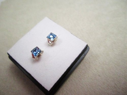 "Sterling silver earrings ""Blue. Small square diamond earrings """