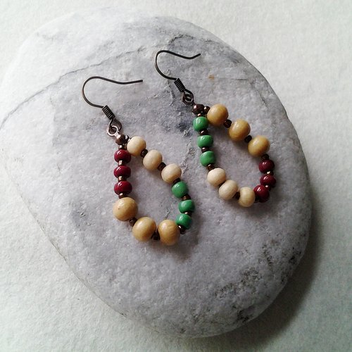 Muse fashion national wind and colorful beads wood color wood bead earrings