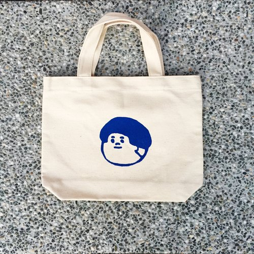 Stupid Human - mediated too (boy) canvas small bag / double handmade serigraphy - navy blue