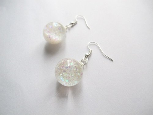 * Rosy Garden * Snowflake Symphony white sequins flowing crystal ball earrings