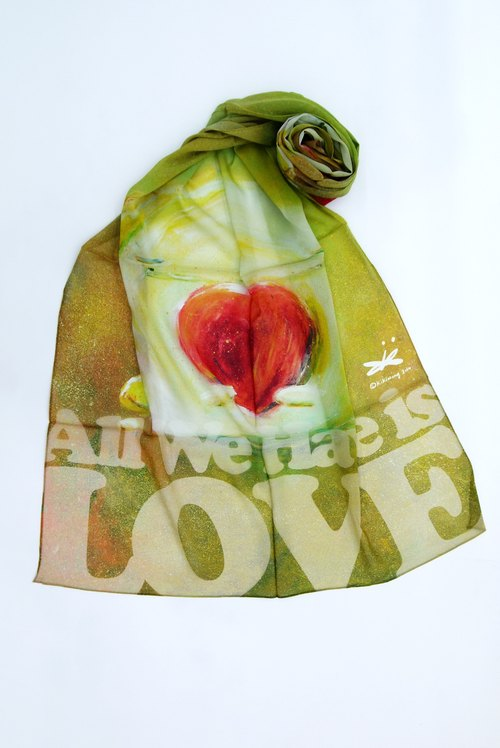 All we need is love long silk scarf