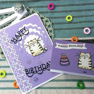 Handmade cards - big eyes cat (large + small) birthday card (birthday / blessing / gift)