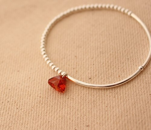 ◆hippie◆ Aerolite│Elegant Swarovski Triangle Red Color Crystal Sterling Silver Bracelet