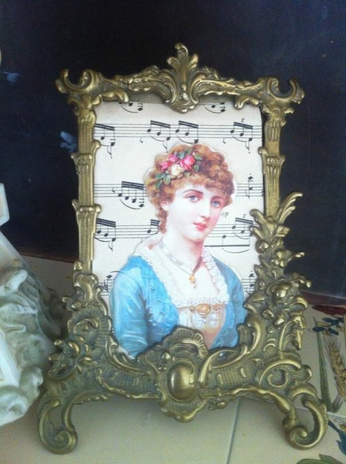 ♥ ♥ Annie crazy gold and silver England Antiquities, British style, the British system c1920s antique bronze silver brass picture frame - rare large picture frame