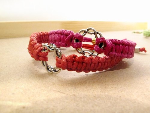 Christmas Skittles woven wax wire bracelet / foot ring (red)