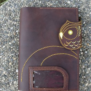 Brown Owl Notebook PDA hand-sewn leather business card holder 150910