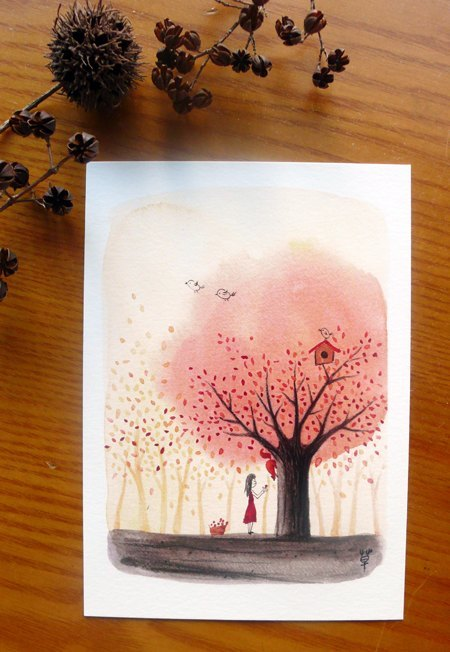 Autumn tree / share the fruits of it postcard