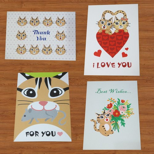 "Shi Hu hug - ""love"" and ""gratitude"" of universal postcard / cards (4 in / group)"