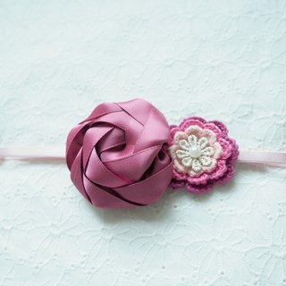 Handmade Elastic Headband with ribbon red flower